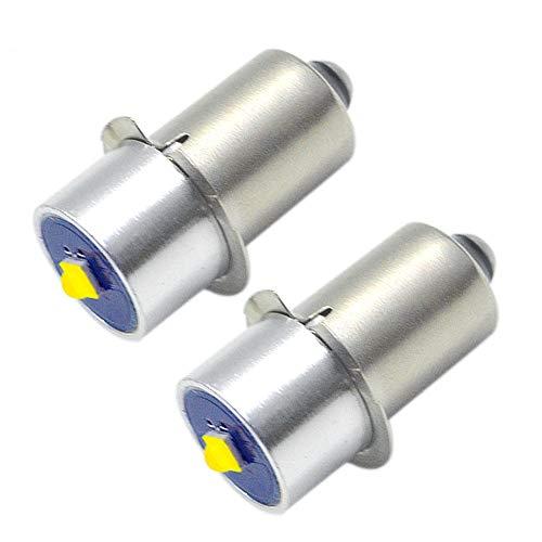 Ruiandsion Bombilla LED de repuesto para linterna DEWALT (2 unidades, 3 W, 6 – 24 V, 200 lm, P13.5S, CREE LED, repuesto para linterna de trabajo, no polaridad
