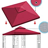 BenefitUSA Replacement Canopy Top Cover for 10'X10' Gazebo Polyester Double Tiers for Outdoor Garden Patio Pavilion Sunshade (Burgundy)