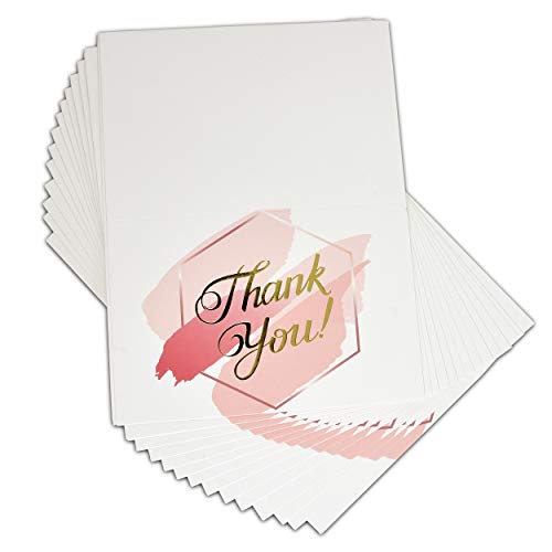 50 Thank You Cards with Envelopes Baby & Bridal Shower Elegant Pink and Gold Foil Watercolor Blank Card Notes…