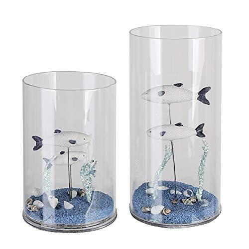Casablanca Decoglas Aquarium Glas helder/wit/blauw gevuld met 2 vissen, zand en schelpen H= 20 cm Ø 10 cm 27677