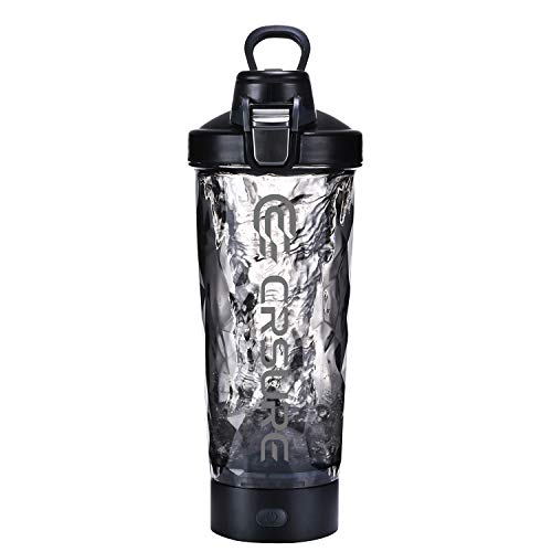 Newest 2020 Protein Shaker Bottle, CRSURE Portable Blender Cup Mixer Shaker Cups for Protein Mixes, 24oz Rechargeable Vortex Mixer | BPA Free | 100%Leak Proof, Electric Shake Bottles for Powder(Black)