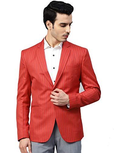 MANQ Men's Slim Fit Blazer (MBSTRIPE-109-40_Red_40)