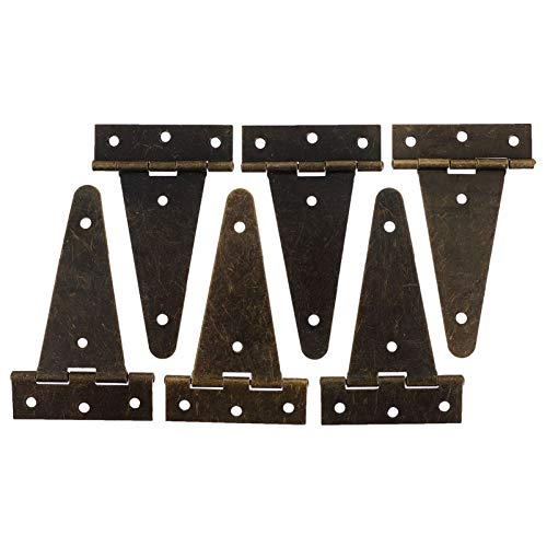 YARNOW 6pcs T Hinges Heavy Duty Hinges Strap Hinges for Storage Shed Door Barn Door Gates Bronze