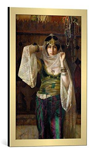 kunst für alle Bild mit Bilder-Rahmen: Cecco Bravo Die Königin des Harems - dekorativer Kunstdruck, hochwertig gerahmt, 40x65 cm, Gold gebürstet