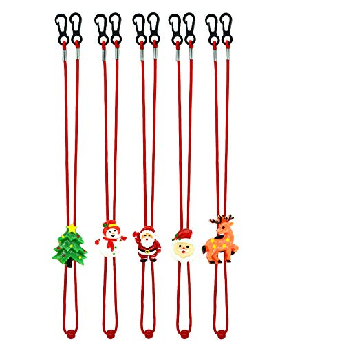 5pcs Christmas Lanyard for Face Masks Kids Adults Adjustable Safety Mask Cover Holder Strap with Clips for Mask Holders Extender Xmas Gift (Christmas Style A)
