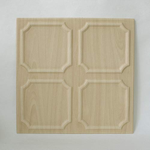 DECOSA Deckenplatten SALZBURG in Holz Optik - 8 Platten = 2 m2 - Deckenpaneele in Birke Dekor - Decken Paneele aus Styropor - 50 x 50 cm - B-Ware