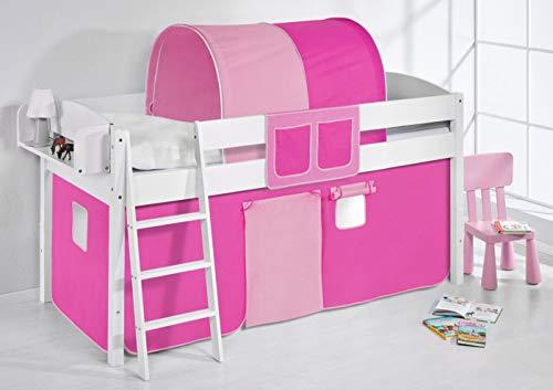 Lilokids IDA 4105 - Cama Alta Infantil de Madera con Cortina, Color Rosa, 208 x 98 x 113 cm