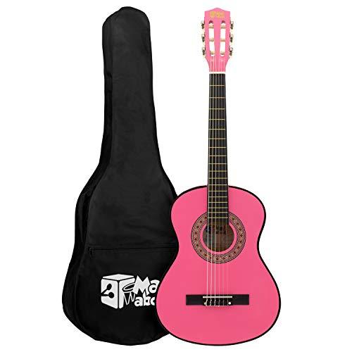 Mad About Ma-Cg03 Guitarra Clásica 3/4 Tamaño Rosa Guitarra Clásica - Colorida Guitarra Española con Bolsa de Transporte, Correa, Púas y Cuerdas de Repuesto