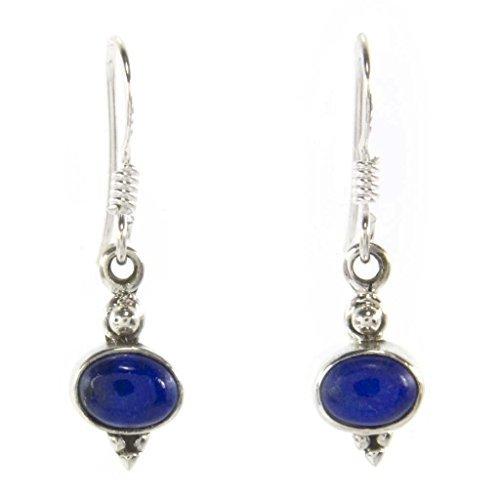 Bijoux et Objets – Boucles d'oreilles lapis-lazuli en argent – Dimensions des pierres 6x8mm