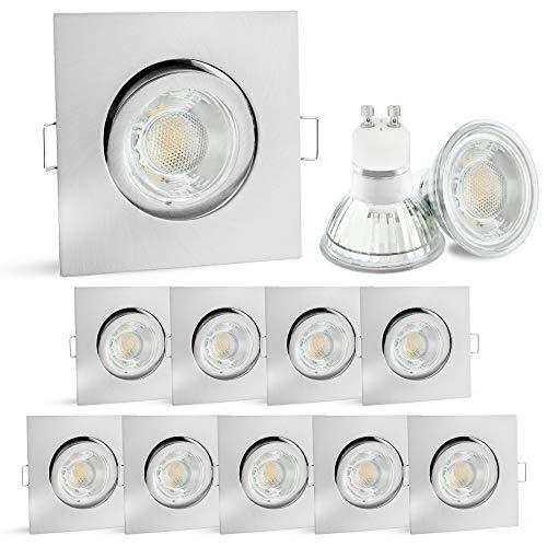 linovum® 10er Set LED Einbauspots GU10 schwenkbar - Deckenspot eckig Spot Edelstahl Optik inkl. LED GU10 6W neutralweiß 230V