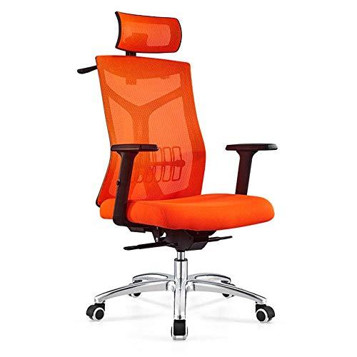 Silla de oficina ajustable, silla de oficina, silla de escritorio, reposabrazos, ergonómica, compacta, 120°, rotación de 360°, superficie de asiento de elevación naranja sin reposapiés