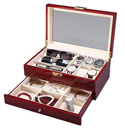 CCAN Geschenkboxen, Uhrenbox Multifunktionale Holzkiste Schmuck Aufbewahrungsbox Schmuck Display Box Uhrengläser Schmuckschatulle Happy Life