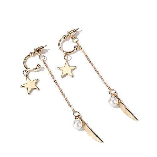 Boucles d'oreilles pendantes à long paragraphe, boucles d'oreilles simple étoiles des femmes , gold