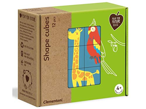 Clementoni- Shape Animaux-Puzzle de Cube 12 pièces-matériaux 100% recyclés-fabriqué en Italie, 4 Ans et Plus, 16228, Multicolore