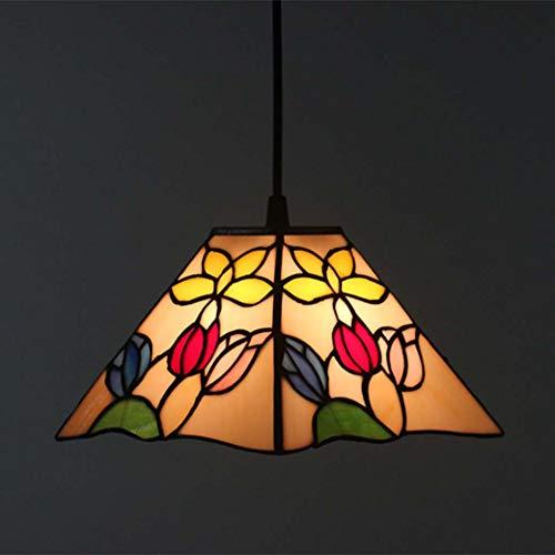 Tiffany hanglamp vierkant Tiffany stijl met lampenkap van glas Tiffany, hanglamp voor slaapkamer, max. 40 W x 1, 28 x 100 cm