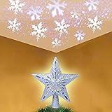 OYEFLY Estrella decorativa para árbol de Navidad con proyector de luces LED rotatorias de copos de nieve blancos