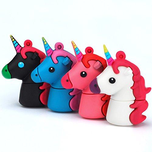 LEIZHAN Chiavetta USB 16 GB Unicorno Pendrive USB 2.0 Memoria Stick Favoloso Animale Unicorno-4 Pezzi