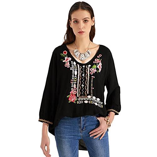 N\C Camisa Bordada Camisa de Manga Larga para Mujeres Europeas y Americanas Primavera y Verano para Mujeres