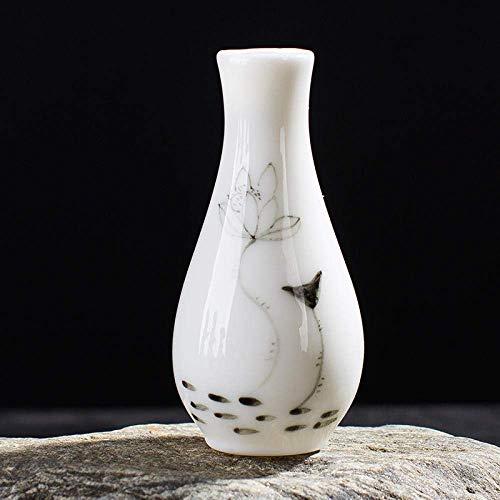 BJLWTQ Botella Pintada a Mano de la Estatua Adornos esculturas de cerámica florero Botella Guanyin Agua de Flores de la Porcelana China Decoración Adornos