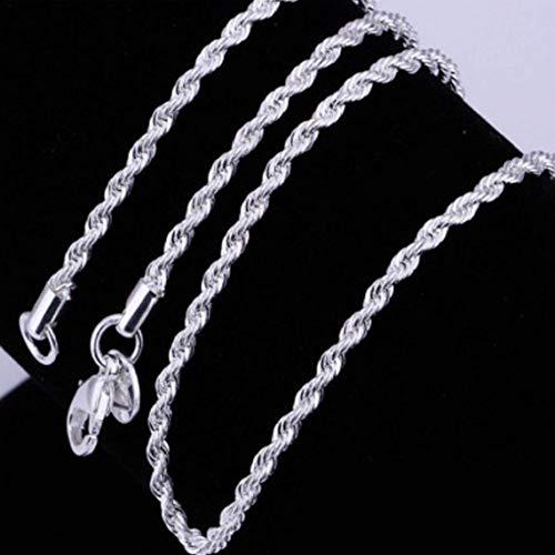 necklace Hombres Mujeres Exquisita Moda Plata de Ley 925 del Corchete de la joyería Collar de Cadena de eslabones Cuerda torcida de la Langosta