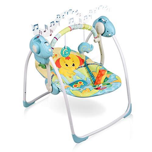 IECOPOWER Babyschaukel, Babywippe Elektrisch Neugeborene Kindersitz Baby Schaukel Wippe 6 Schwunggeschwindigkeiten und 16 Melodien Blau