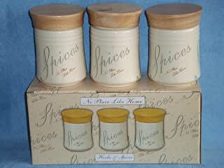 Ceramic Herbs & Spices Set 3 Kitchen Store Jars No Place Like Home