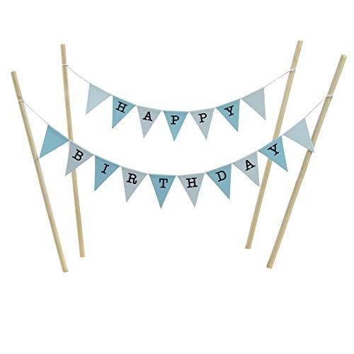 amazing buntings Kuchen Deckel Set, Blau Pastell Kleine Fahnen mit 4 Bambus Sticks
