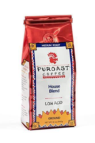 Puroast Coffee Low Acid Ground Coffee, House Blend, 12 Ounce Bag (Pack of 2)