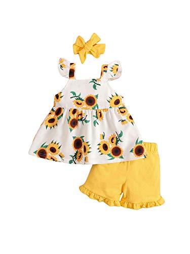 Conjunto de verano para niña, 3 piezas, camiseta con impresión de girasol, manga volante, pantalones entallados de color liso corto + banda con lazo para 1 – 4 años amarillo 12-18 Meses