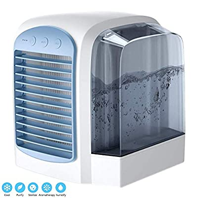 NLR Personal Air Cooler, mini air conditioner, USB Coolers, with Water tank, Portable LED Table Fan, 3 Fan Speed, Ultra-Quiet Table Fan for Home Office, environmental friendly cooler fan (Blue)