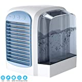 NLR Personal Air Cooler, USB Portable Evaporative Table Fan with Night Light, 3-Speed Low Consumption & Environmental Friendly Fan for Home & Office (Blue)