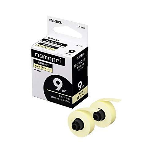 (まとめ)カシオ メモプリンター メモプリ付箋テープ 9mm幅×5m イエロー XA-9YW 1パック(2個)〔×10セット〕