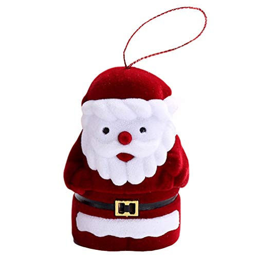 Amosfun Christmas Jewelry Box Santa Claus Shape Couple Ring Box Gift Earring Jewelry Case Ornament for Proposal Engagement Xmas Party Decor