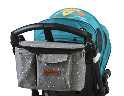 Patterned Turquoise 3-in-1 Baby Pram Pushchair Stroller Buggy Organiser Insulated Warmer Cool Bag Universal Fit with 6 Pockets
