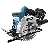 WESCO 20V 4.0Ah Cordless Circular Saw, 6-1/2' Cordless Electric Saw, 4000RPM 0-45° Bevel Cutting with Charger, Vacuum Adaptor, Parallel Guide, Wood Cutting Blades(24T / 40T)/WS2316U