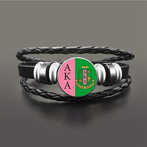 Inveroo Vintage Aka Alpha Kap Alpha Sorority Charm Bracelet Multicayer Leather Ajustable...