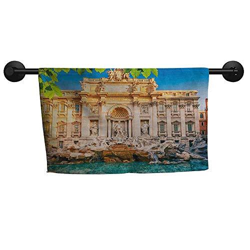 xixiBO Bath Towel W 14 x L 14(inch) Highly Water Absorbent Hotel Bathroom Towel,Italy,Fountain Di Trevi Famous Travel Destination Tourist Attraction European Landmark,Multicolor