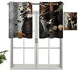 Hiiiman Cenefas de cortina con ojales para ventana, cafetera y molino, juego de...