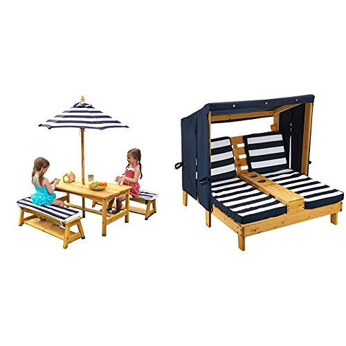 KidKraft Outdoor Table and Chair Set with Cushions and Navy Stripes & Outdoor Double Chaise Lounge, Honey/Navy/White, One Size