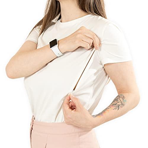 Moms Secrets® T-shirt d'allaitement à manches courtes avec fermeture éclair en coton – élégant et festif T-shirt de grossesse - - Small
