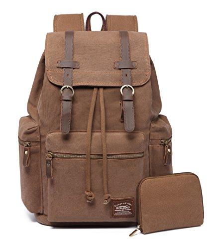 KAUKKO Canvas Vintage Backpack Casual Backpack School Leather Rucksack Outdoor Travel Backpack?Khkai-1?