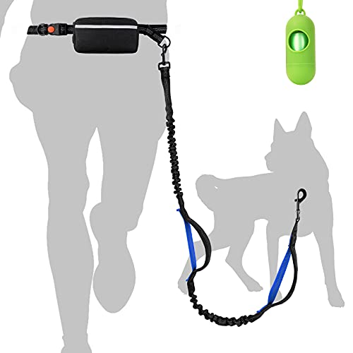 Hands Free Dog Leash with Adjustable Waist Belt and Removeable Zipper Bag, Reflective Dual-Handle Retractable Bungees for Medium Large Dogs Running Walking Jogging (Sapphire Handle)