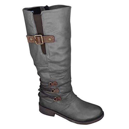 Scarpe da Donna Stivaletti Stivali Donna Moda Casual Tacchi Quadrati Scarpe Lunghe alla Caviglia (38,Grigio)