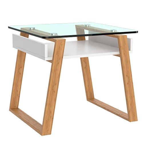 bonVIVO Pablo, Mesa Pequeña Auxiliar Puede Usarse como Mesa de Café Moderna o Mesa Auxiliar para el Salón - Mesas de Cristal para Cocina - Mesita de Centro para Espacios Pequeños