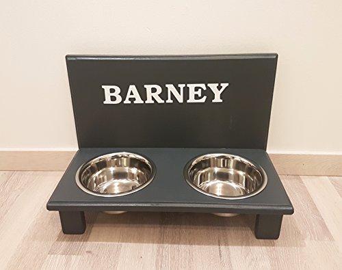 Echte Handarbeit. Frei gestalten mit Wunschname und Deko. Hundenapf für kleine Hunde. Napf Hund. Futterbar Hunde in anthrazit. 2 x 750 ml Edelstahlnapf (N101)