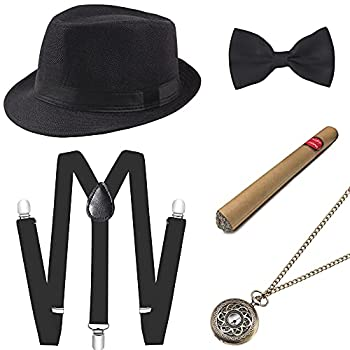 BABEYOND 1920s Mens Gatsby Costume Accessories Set 30s Panama Hat Elastic Y-Back Suspender Pre Tied Bow Tie Pocket Watch and Plastic Cigar  Black Set