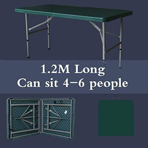 Tavolo pieghevole in plastica pesante 120 cm, dimensione pieghevole è 62 cm × 60 cm × 9 cm all'aperto giardino giardino campeggio barbecue tavolo pieghevole preferito MotBach (Color : Green)