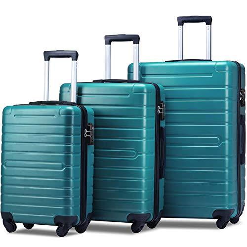 Flieks Luggage Sets TSA 3 Piece Spinner Suitcase Lightweight 20 24 28 inch (Aqua Green)