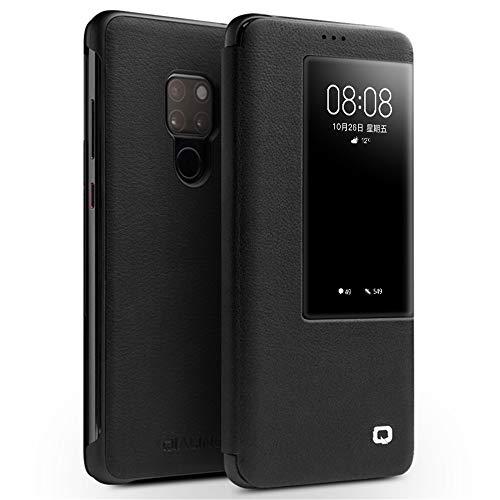 Mking Tech hoogwaardige lederen mobiele telefoon behuizingen voor Huawei Mate 20 Pro/Mate 20 Flip/automatische slaap/wake/multifunctionele smart phone holster, Flip Cover, for Huawei Mate 20, Zwart