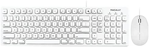 MACALLY MKEYECOMBO 103-Key Full-Size USB Keyboard with Shortcut Keys & 3-Button USB Optical Mouse Combo for Mac(R)